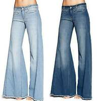 Women's Denim Bell Bottom Bootcut Jeans Flared Casual Pants Trousers Plus Size