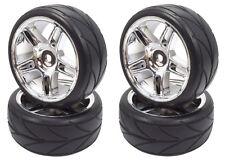Apex RC Products 1/10 On-Road Chrome Split 5 Spoke Wheels / V Tread Tires #5006