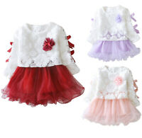 Winter Infant Baby Kids Girls Party Lace Tutu Princess Dress Clothes Outfits