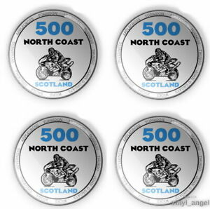 4x 3D Round Stickers Resin Domed Adhesive Emblem North Coast 500 Motorcycle 2208