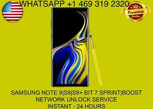 SAMSUNG NOTE 9|S9|S9+ BIT 8 SPRINT|BOOST NETWORK UNLOCK SERVICE - REMOTE UNLOCK