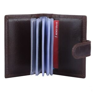 Genuine Coffee Leather Credit Card Holder Wallet -20 clear plastic pockets RFID
