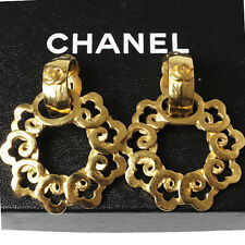 CHANEL Two Concatenation Earrings Gold Tone Clip-On 97 P France Authentic #2982