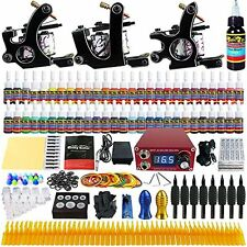 Solong Tattoo® Complete Tattoo Kit 3 Pro Machine Guns 54 Inks Power Supply Foot