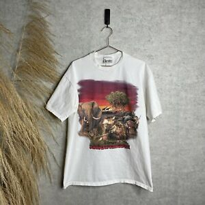 Vintage 1990's Disney World Animal Kingdom White Animal Line-Up Promo T-Shirt