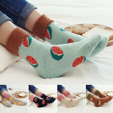 5 Pairs Lot Women Wool Socks Cute Fruit Pattern Thick Warm Casual Floor Socks