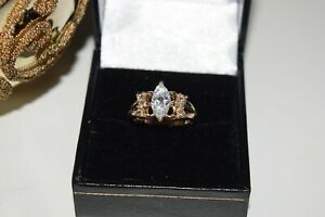 9ct Yellow Gold Shaped Cubic Zirconia Ring With fancy Shoulders