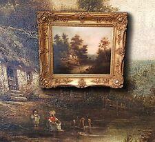 menübesteck Chalet de l'agriculteur, sublime antique peinture à l'HUILE sign.