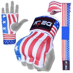 DEFY Gel Padded Ladies Inner Gloves with Hand Wraps MMA Muay Thai US Flag
