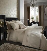 Catherine Lansfield Diamante Pleats Gold Duvet / Quilt Cover Bedding All Sizes