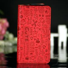 LG Google Nexus 5 Flip Case Tasche Hülle Klapp Cover Etui Book Involto Comic Rot