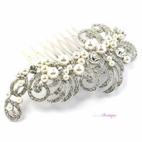 Bridal Wedding Vintage Antique Style Crystal & Pearl Silver Hair Comb Slide HC01