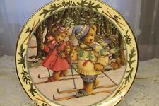 "Royal Doulton -Teddy Bear ""Skiing"" Franklin Mint Plate- Linda Griffith Limit. Ed"