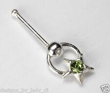 Silver Star Doorknocker With Green Gem Nose Stud Rings
