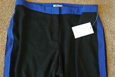 ANTHROPOLOGIE LEIFSDOTTIR Crepe Tuxedo Pants 2 NWT$188 Black w/ Cobalt Blue!