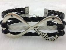 One Direction Directioner Infinity Bracelet Black Leather 1D Friendship Infinite