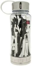 GOLF GIFT - COLIN MONTGOMERIE WATER BOTTLE & 100 WHITE/BLACK WOODEN TEES 69mm