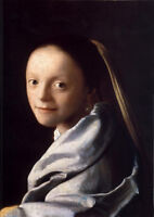 Dream-art hand painted Oil painting Johannes Vermeer - Nice young woman & scarf