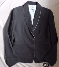 STRESA Ladies Lined Suit Jacket Blazer Black with Blue Polka Dots Size 6 NEW NWT