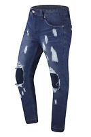 NEW Men Ripped Knee Distressed Denim Blue Jeans Pants Rips ALL SIZES Zipper Bike