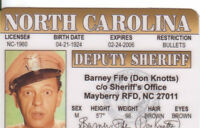 Barney Fife aka Don Knotts of the Andy Griffith Show ID Card /  Drivers License