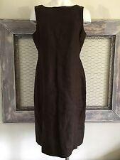 Talbots Womens Dress 12 Petite LP Sheath Brown Pure Irish Linen Chocolate