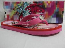 Ed Hardy Size 5 M Fuschia Flip Flops Sandals New Womens Shoes