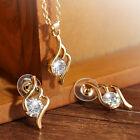 Fashion Women's Rhinestone Crystal Pendant Necklace Chain Earrings Jewelry Set
