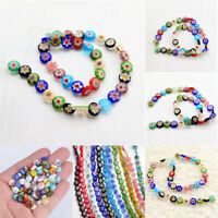 6/8/10mm Oblate Millefiori Lampwork Glass Loose Spacer Beads For Jewelry Making