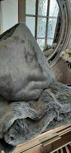 Luxurious grey faux fur throw and cushion 135x170cm