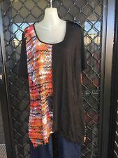 ts Plus Size Tunic/Shirt - Black, Orange, Red & White, Asymmetrical - Size XS
