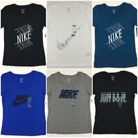 Women's NIKE T-Shirt Scoop Neck Athletic Cut Tee Swoosh Just Do It Logo Shirt