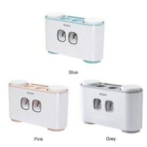 Automatic Toothpaste Squeezer Dispenser Toothbrush Holder Wall Mount with 4Cups