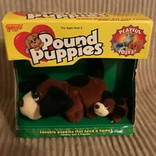 1999 Galoob Pound Puppies Playful Poses Dog Puppy with Box & Certificate Pair