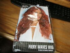 Fiery Waves Wig Costume Party Theater Diva Wavy Long Volume Red Amscan Red
