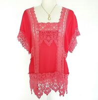 Johnny Was Pink Coral Embroidered Floral Semi-Sheer Short Sleeve Blouse Size M