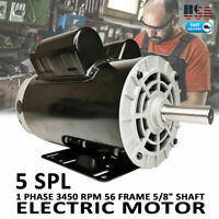 "5 HP SPL 1 Phase 3450RPM Electric Air Compressor Duty Motor 56 Frame 5/8"" Shaft."