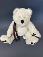 "Fossil Teddy Bear White 8"" Plaid Scarf Plush Stuffed Spellout Holiday Christmas"