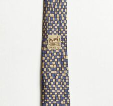 Hermes Paris Blue Block Grid Wave Necktie 7679 TA 100% Silk Made in France
