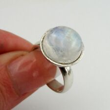 Great Handcrafted Israel Art Sterling Silver Moonstone Ring size 7 (ya)
