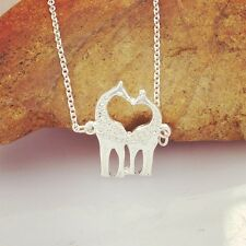 FREE GIFT BAG Silver Plated Giraffe Love Necklace Chain Ladies Jewellery Xmas
