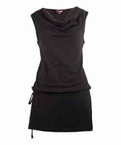 KÉAWA Black Cowl Neck Drop-Waist Dress SZ L** NWT