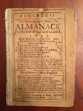 Very RARE 1732 Boston Almanac, Nathan Bowen, Colonial America, New England Diary