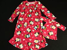 NWT Girls Winter Nightgown Size 5 Doll Gown Fleece Pajamas Christmas Penguin Pjs