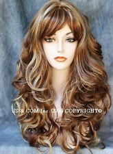 BOUNCY LONG WAVY Curly RED BLONDE mix WIG with bangs JSCA RS29