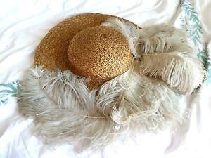 1900s AntiqueVintage Edwardian Straw Hat OSTRICH FEATHERS