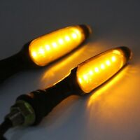 2X Universal Motorcycle Smoked Turn Signals Indicator Blinker Amber Light