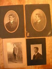 LOT OF 4 OLD CABINET PHOTO VINTAGE PHOTOGRAPHS VICTORIAN MEN PHOTOS clothes suit