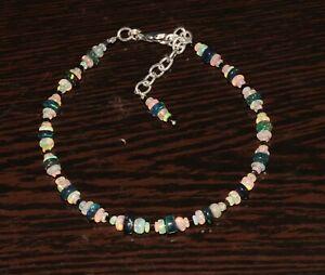 Genuine Ethiopian Fire Opal Black & white Roundel beads bracelet 925 silver 110