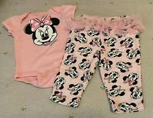 Disney Baby Girl pink Minnie Mouse 2 piece snap bottom ruffle pants 0-3 MO